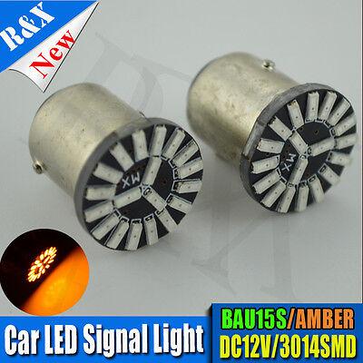 2x S25 BAU15S PY21W LED INDICATOR SIGNAL BULB PIN OFFSET 3014 AMBER ORANGE 190lm
