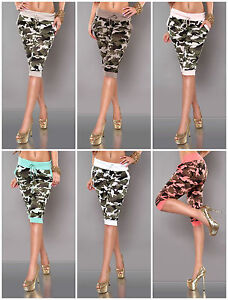 Ladies-Cropped-Pants-Army-Print-Sport-Trousers-Running-Fitness-Gym-Camouflage