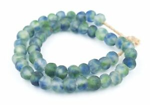 Blue-Green-White-Recycled-Glass-Beads-14mm-Ghana-African-Sea-Glass-Multicolor