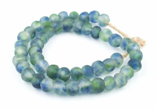 Blue White Recycled Glass Beads 14mm Ghana African Sea Glass Multicolor Green