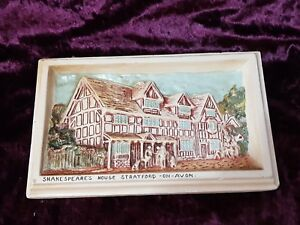 Vintage-Ivorex-3D-Plaque-Shakespeare-039-s-House-Stratford-On-Avon