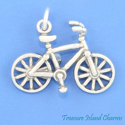 Responsible Fahrrad Radfahrer Radfahren 3d .925 Massives Sterlingsilber Charm Fahrradfahren Delicacies Loved By All Jewelry & Watches