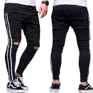6cab251848ec2f BEHYPE Jeans Herren Ripped Slim Fit Chino Hose Röhrenjeans Schwarz ...
