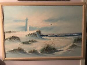 Vintage K Wilson Lighthouse Beach Impressionist Lg 36x24 Oil Painting Estate Ebay