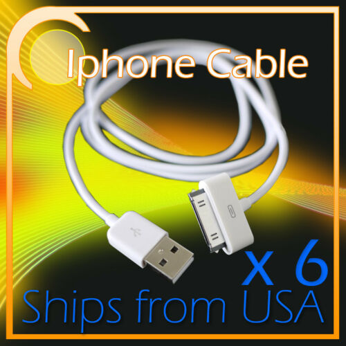 6 USB SYNC DATA CHARGER POWER CABLE IPHONE 4S 4 3GS IPAD IPOD TOUCH CLASSIC NANO