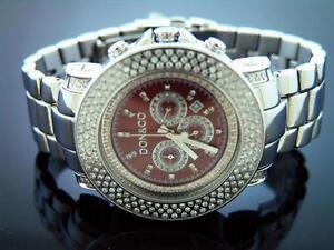 New-Don-amp-Co-5-50CT-3-rows-large-size-Diamond-50MM-Stainless-steel-Watch