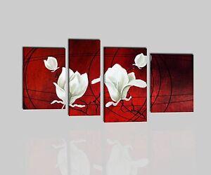 Quadri moderni astratti dipinti a mano olio su tela rosso for Quadri componibili moderni