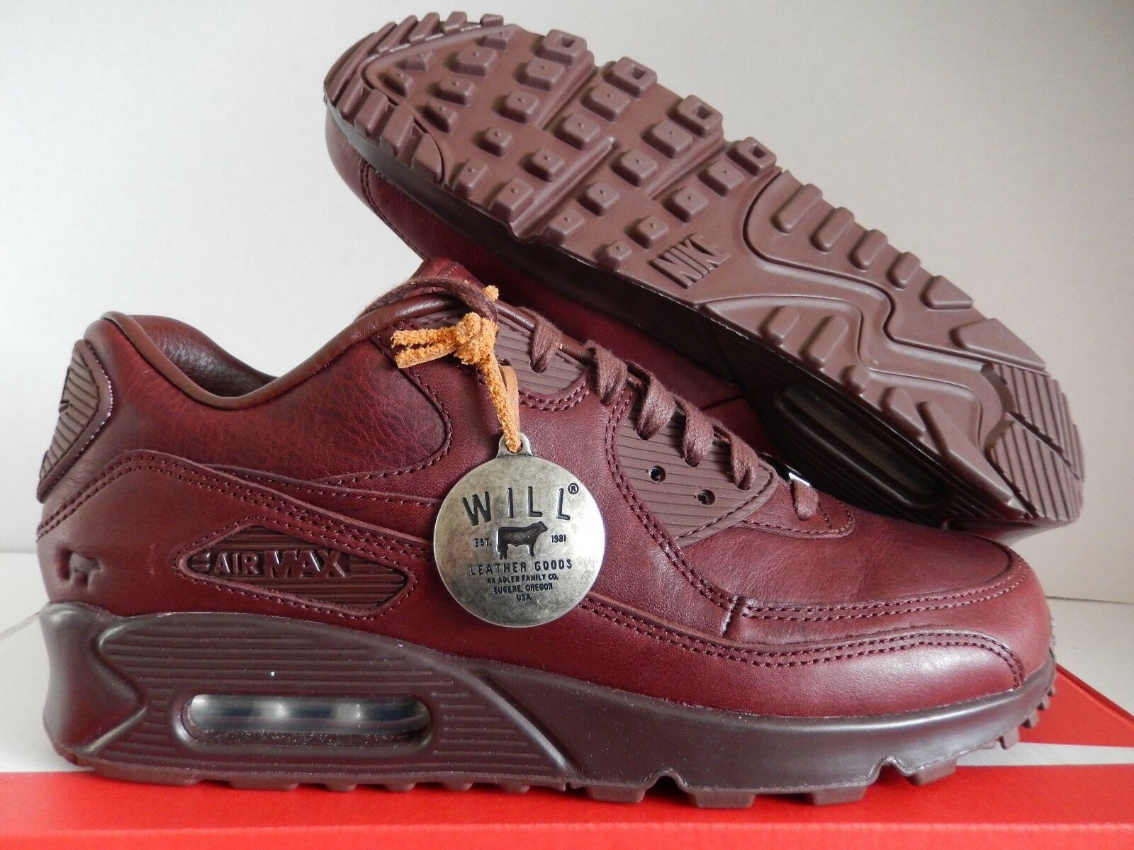 NIKE AIR MAX 90 ID WILL PREMIUM LEATHER RED SZ 9 WOMENS MENS SZ 7.5 [921310 991]