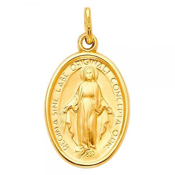 14K Yellow gold Religious Virgin Mary Medal Pendant GJPT2072