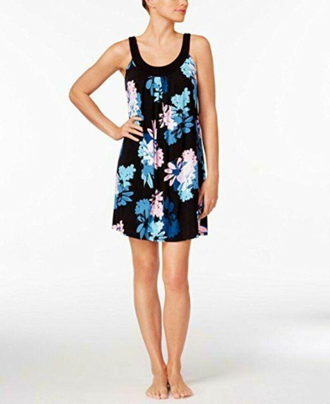 Alfani Schwarz Blumenmuster U-ausschnitt Negligé Schlafanzüge Kleid Nachtwäsche
