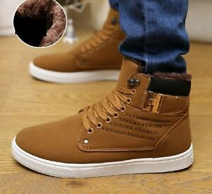Winter Mens Casual Lace up High Top Warm Ankle Boots fur Sneakers ...