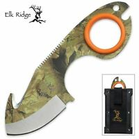 Elk Ridge Camo Field Dress Skinning Knife Gut Hook Fire Starter Sharpener Er-127