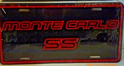 MONTE CARLO SS ALUMINUM LICENSE PLATE MADE IN USA RED /& BLACK CHEVROLET CHEVY