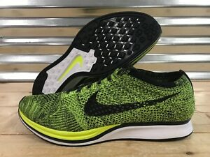 more photos d9212 f50d8 Image is loading Nike-Flyknit-Racer-Running-Shoes-Volt-Black-Sequoia-