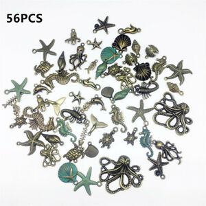 56pcs-Bulk-Mixed-Tibetan-Silver-Charm-Ocean-Pendants-Beads-DIY-Jewelry-HQ