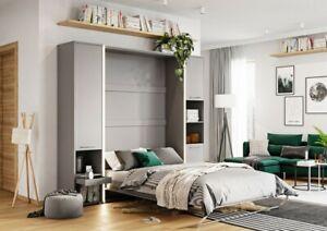 Details About Modern Vertical Wall Hidden Pull Out Double Storage Beds Grey Matt Led