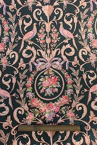 """French Antique c.1870 Hand Blocked Birds,Roses & Bows Cotton Fabric~3yds7""""LX31""""W"""