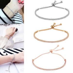 Women-039-s-Crystal-Rhinestone-18K-Gold-Plated-Bracelet-Adjustable-Bangles-Jewelry