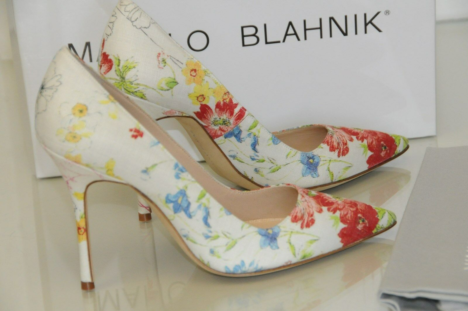 New MANOLO BLAHNIK BB 105 Flower Floral ROT blau Cream 41.5 schuhes 36.5 38 39.5 41.5 Cream b0ee96
