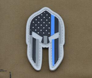 PVC-Rubber-Patch-034-US-Spartan-Helmet-L-E-Blue-Line-034-with-VELCRO-brand-hook