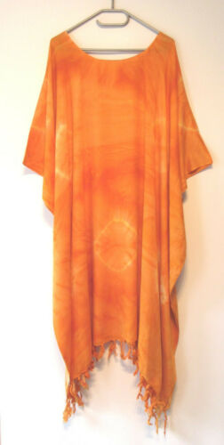 Kaftan Tunika lang Longshirt XL 4XL 5XL 62 64 66 68 70 Gelb-Orange Flash CW626