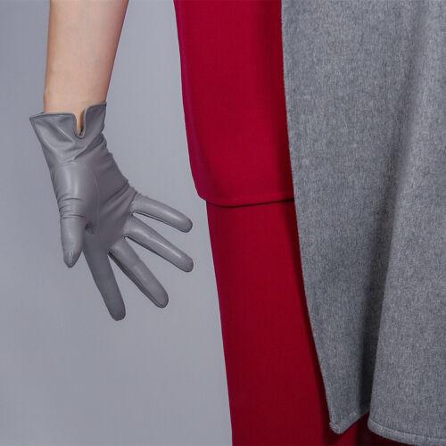 REAL LEATHER GLOVES Patent Shine Black Wrist Short Lambskin Sheepskin 25cm