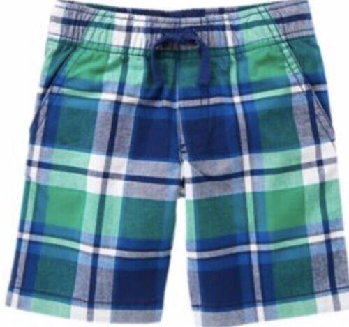 "NWT 7 Gymboree ""ISLAND HOPPER"" Cotton GREEN BLUE PLAID SHORTS pockets Elastic W"