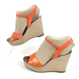 8d0b6e562f9c8 Image is loading J-CREW-Italy-Orange-Leather-Platform-Ankle-Strap-