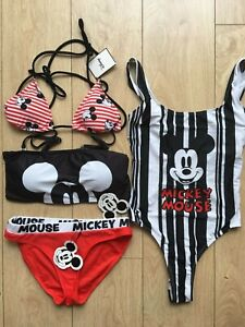 Bestbewertete Mode neueste Kollektion Einkaufen Details zu DISNEY MICKEY MOUSE PRIMARK Red & White Striped Ladies Bikini  Swimming Costume