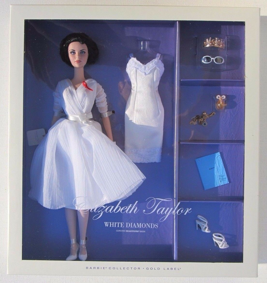 Elizabeth Taylor blanco Diamonds Genuino cuerpo Silkstone Barbie oro Label 2012