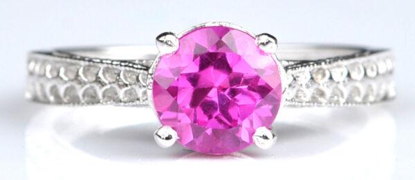 1,20 Karat Natürliche Rosa Turmalin 925 Sterling Silber Runden Form Ring Attraktive Designs;
