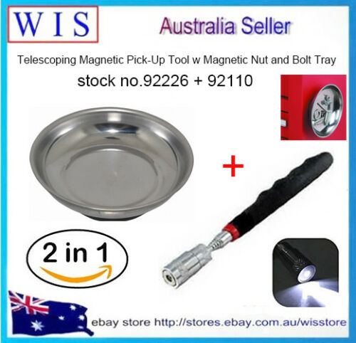 2 in 1 LED Light Magnetic Pickup Tool and 6 inch Magnetic Nut and Bolt Tray