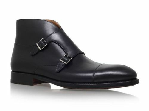 Mens Ankle Genuine Leather shoes Handmade Chelsea Double Buckle Formal Boots