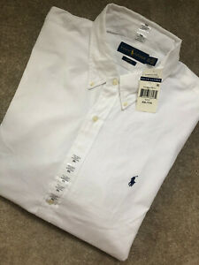 Ralph-Lauren-Polo-Blanco-Clasico-Calce-Ajustado-L-S-Shirt-Top-Usa-Modelo-XXL-Nuevo-Etiquetas
