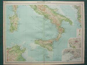1921 LARGE MAP SOUTHERN ITALY SICILY CATANIA SARDINIA ROME