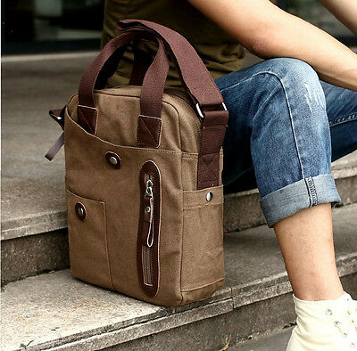 Vintage Canvas Leather Mens Messenger Shoulder Bag Travel School Bag Satchel