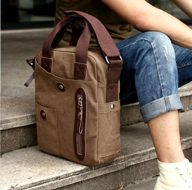 Vintage Canvas Leather Mens Messenger Shoulder Bag Travel School Bag Satchel