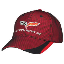 C6 Corvette Red Cotton Hat with Black Mesh Overlay