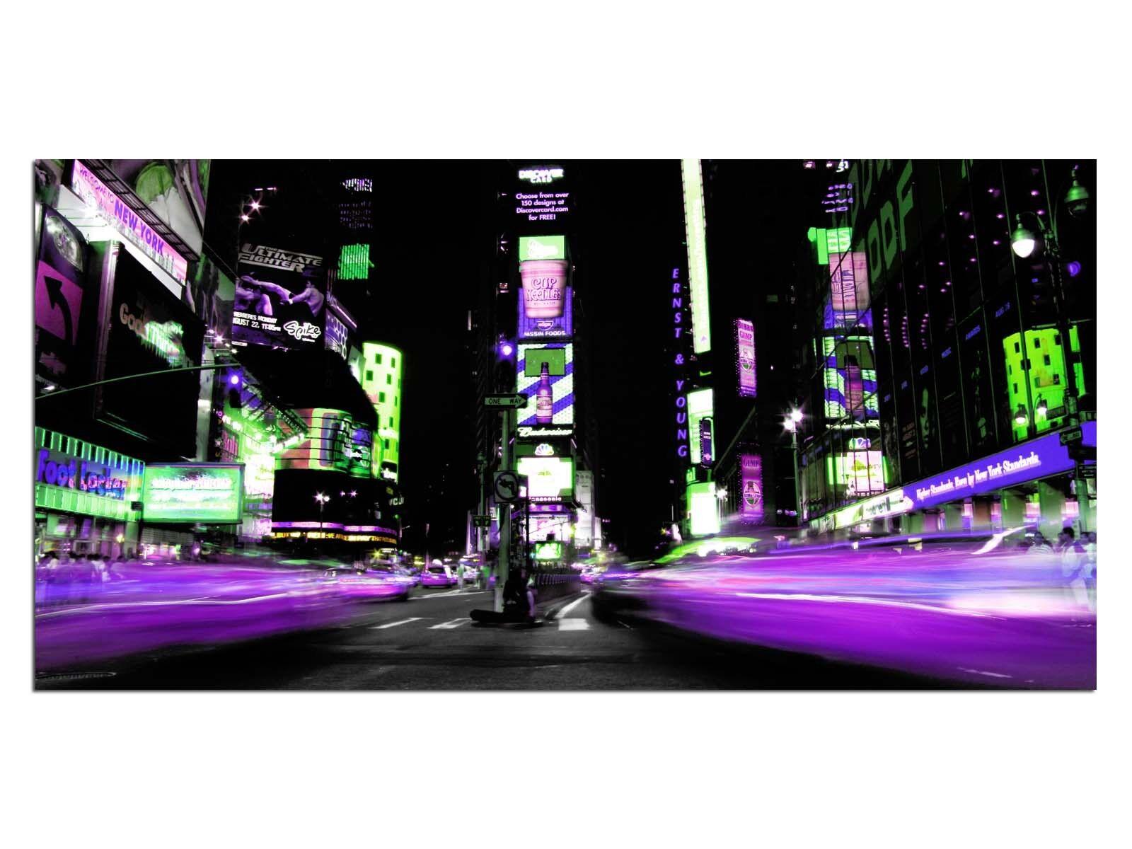 HD Glasbild EG4100500914 TIMES SQUARE NYC LILA 100 x 50 cm Wandbild STADT
