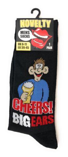 Mens Funny Joke Slogan Official Cartoon Novelty Character Socks Black UK 6-11