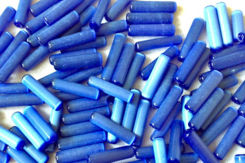 100 pieces of DARK BLUE Jewellery Making BUGLE shape glass beads 15mmx4mm  G0128