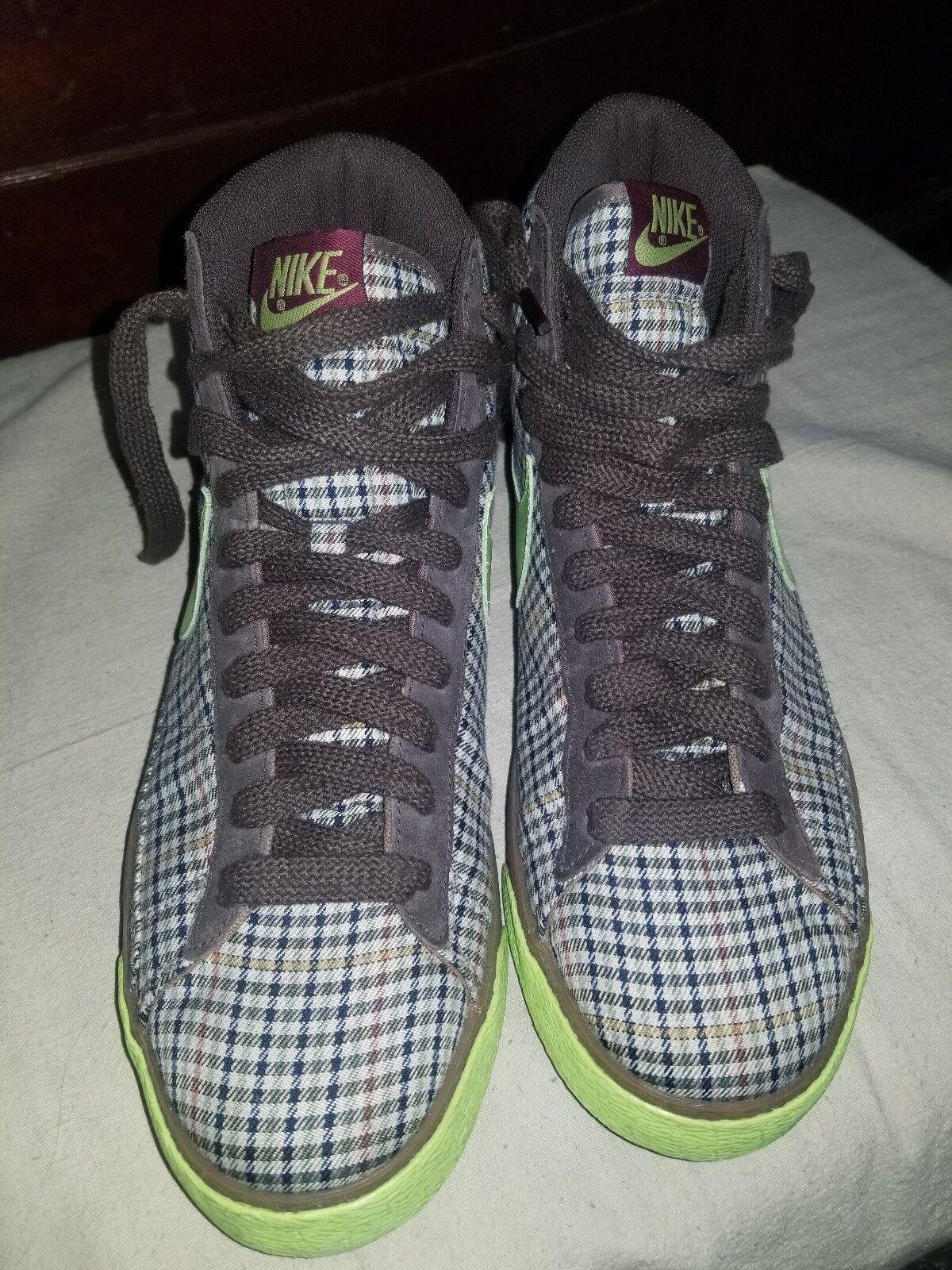 Nike Blazer High Grid Brown Plaid 318642-231 Size US 11.5 Preowned