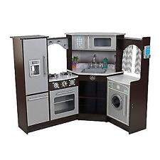 KidKraft Ultimate Corner Play Kitchen With Lights U0026 Sounds, Brown/White New