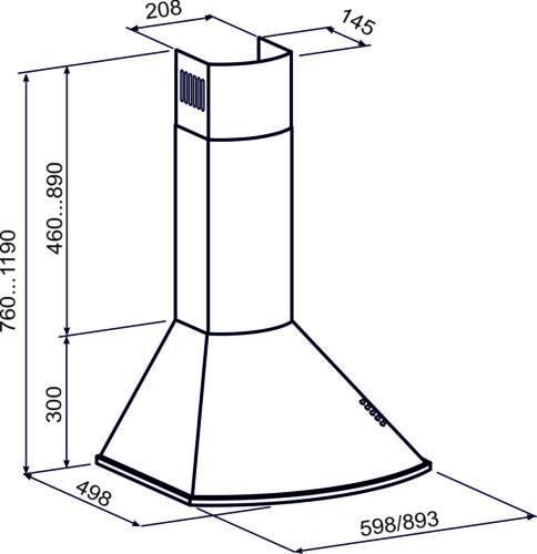 Gurari GCH 046 cappa aspirante 60cm 1000m³//h Muro Camino Cappa Cappa cappa cappa