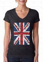 Union Jack Distressed V-NECK WOMEN T-Shirt British Flag England UK Ladies Shirt
