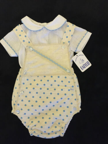 BABY BOYS//GIRLS OFFICIAL SPANISH MATCHING SETS DRESS-ROMPER IVORY//BLUE 12M-6Y