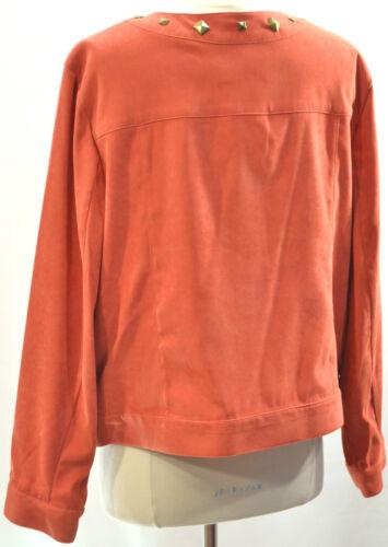 Sag elasticizzato Sz Pelle New Pxl di sintetica Cappotto scamosciata Blazer borchie Giubbotto Harbor con Arancione qpOA1wIz