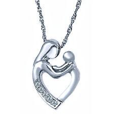 """Diamond Mother Child Heart Pendant Necklace 18"""" 10k White Gold Loving Family"""
