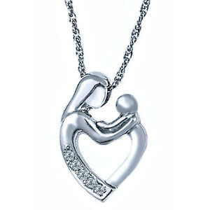 Diamond mother child heart pendant necklace 18 10k white gold image is loading diamond mother child heart pendant necklace 18 034 aloadofball Choice Image