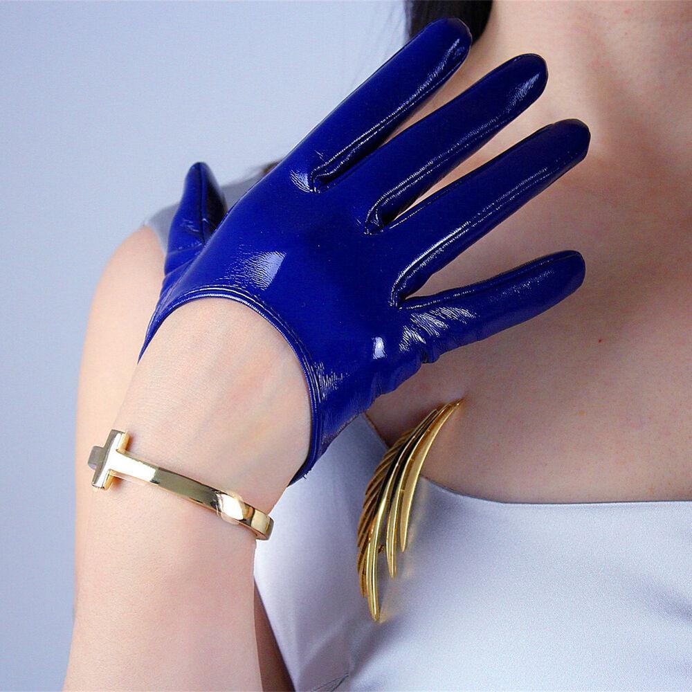"""2019 Nouveau Style Latex Court Gants Shine Cuir Faux Verni Polyuréthane 5"""" 13 Cm Everyday Bleu Cobalt Nous Prenons Les Clients Comme Nos Dieux"""